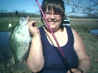 My wife, Kellies BIG crappie.